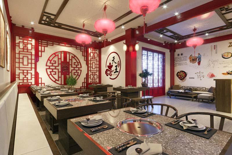 Thiết kế nhà hàng lẩu phong cách Trung Hoa sang trọng và tinh tế