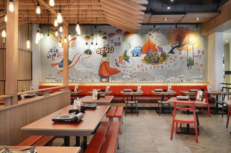 trang trí quán ăn món Hàn